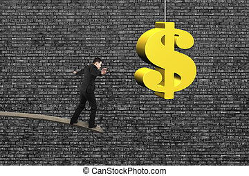 Businessman balancing on wooden board with golden dollar...