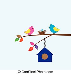 Bird House - vector bird family