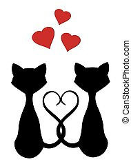 Cats - vector cats with hearts
