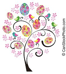 Easter Tree - vector Easter tree with eggs