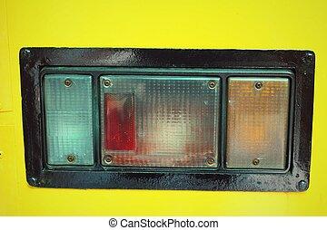 Old vintage car tail light.