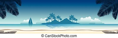beach banner - summer vacation vector banners with tropical...