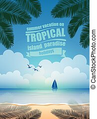 tropical island vector - summer vacation on tropical island...