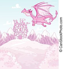 Magic dragon - Illustration of magic dragon on princess...