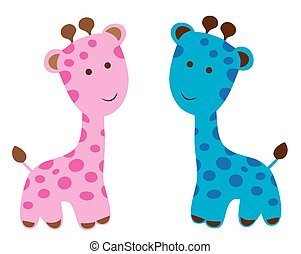 Giraffes - vector cute baby giraffes