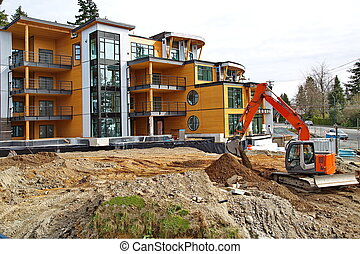Construction of new apartment build - Clearing excavating...