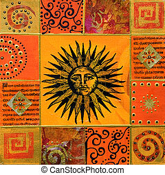 artwork with sun - Collage painting with sun, artwork is...