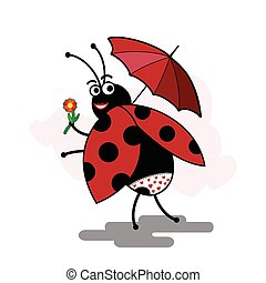 funny cartoon ladybug pinup with umbrella