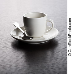 Empty White Mug on Saucer with Spoon