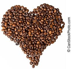 corazón, café,