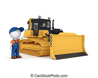Yellow bulldozer3d illustration isolated on white background...
