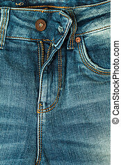 close up blue jeans zip - Jeans texture background, close up...