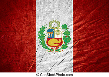 flag of Peru - Peru flag or Peruvian banner on wooden...