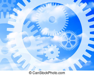 Cog wheel abstract - Cog wheel shapes overlaid over cloudy...