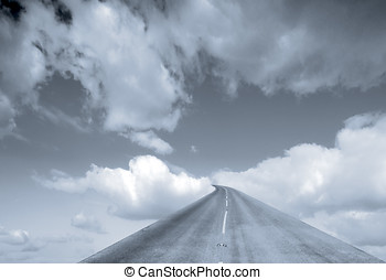 Roadway to Heaven - Blue abstract showing road leading into...