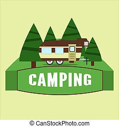 RV camping illustration. Vector - RV camping illustration....