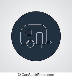 Camping trailer vector icon. Caravan. - camping trailer...