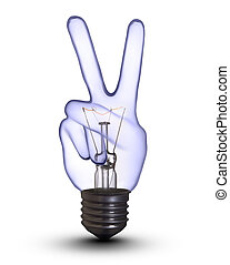 Victory sign hand lamp bulb on white with clipping path