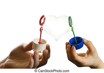 two hands of mother and child with heart form soap bubble