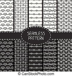 Set of monochrome romantic seamless pattern with hearts. Collection of paper for scrapbook. Vector background. Tiling. Hand drawn doodles. Stylish graphic texture for your design, wallpaper, pattern fills.