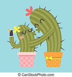 kissing couple of cactus taking selfie of themselves