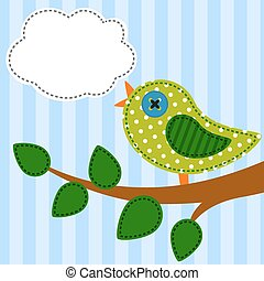 Bird as retro fabric applique
