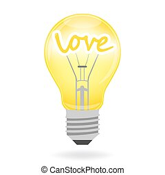 Light bulb - love, vector