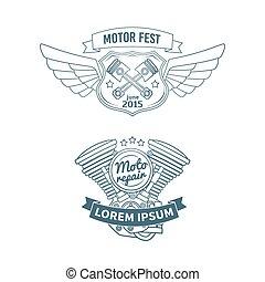 Set of biker vector badges - Set of motor vintage labels,...