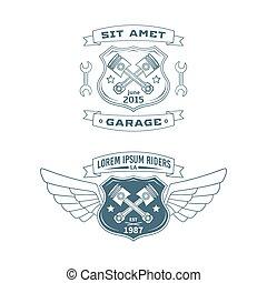 Set of Motor vector badges - Set of motor vintage labels,...