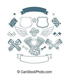 Set of biker label vector elements - Set of motor vintage...
