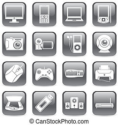 Computer and media icons.