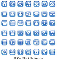 Web icons - Set of 42 blue icons for Web