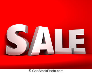 sale sign - 3d illustration of sale sign over red background