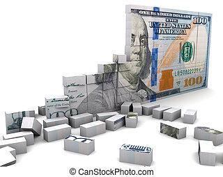 broken economic - abstract 3d illustration of broken dollar...