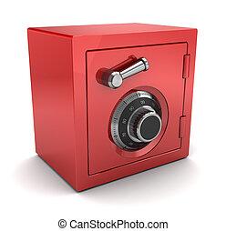 red plastic safe - 3d illustration of red color safe over...