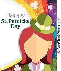 Leprechaun girl icon on rainbow background. St. Patrick's...