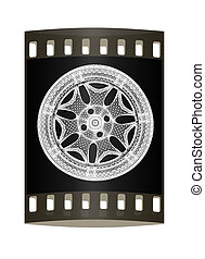 3d model of car wheel rims. The film strip