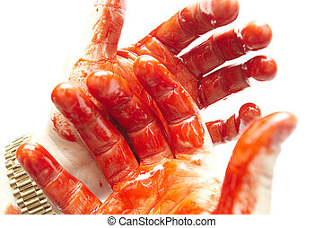 bloody hands - some bloody hands on a white background