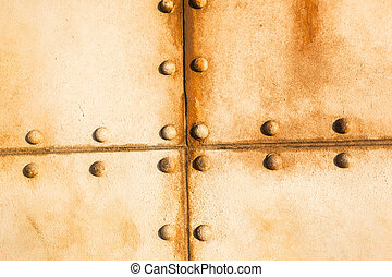 Metal Rivets Ship - Old ship deck metal plate rivets detail...
