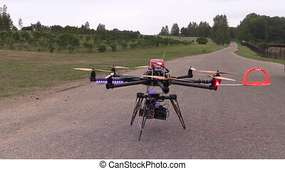 octocopter camera fly - Octocopter copter with camera start...