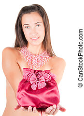 Red bag - Shot red bag with beautiful brunette woman on...
