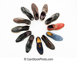 what should i wear today - upper view, variety of male shoes...