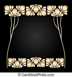 Vector art nouveau frame. - Vector art nouveau ornament with...