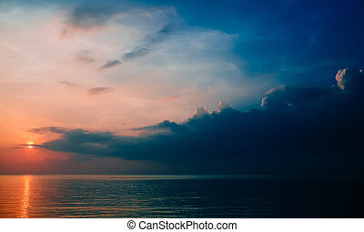 Koh Phangan island - Sea sunset in Koh Phangan island,...