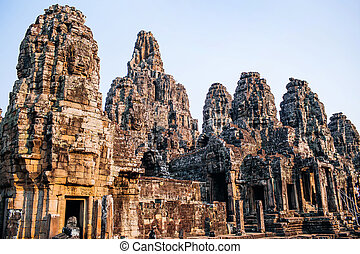 temple Bayon - Ancient temple complex Bayon, Siem Reap,...