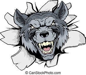 Wolf mascot break out - A mean looking wolf mascot character...