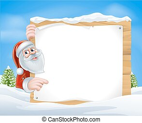 Christmas Cartoon Santa Sign of Santa Claus pointing at a...