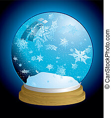 snow globe light - Christmas holiday snow globe with...