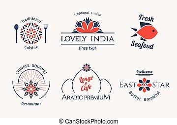 Vector asian logo templates - Asian food logo templates set....