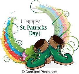 Rainbow, clover and Leprechaun shoes on white background St...